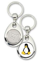 Schlüsselanhänger - Metall - Tux - Einkaufswagen-Chip