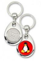 Schlüsselanhänger - Metall - Tux rot - Einkaufswagen-Chip