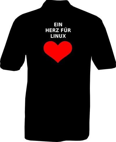 Polo-Shirt - Ein Herz für Linux - Rückseite