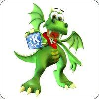 Notebook-Sticker - Konqui mit KDE Logo